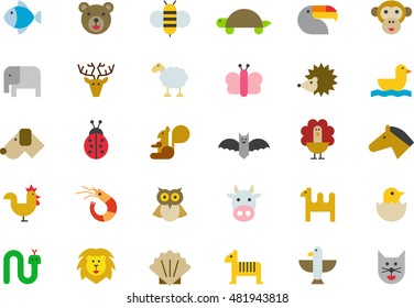 ANIMALS colored flat icons