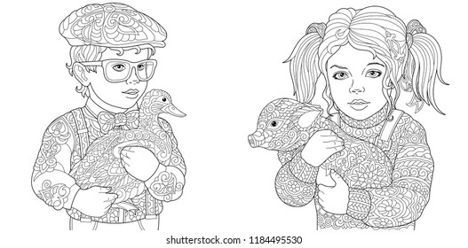 Animals. Coloring Pages. Coloring Book for adults. Colouring pictures with kids holding duck and pig. Antistress freehand sketch drawing with doodle and zentangle elements.