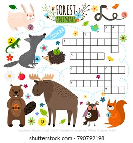 Animals crossword. Book puzzle cross word game with forest animals vector illustration