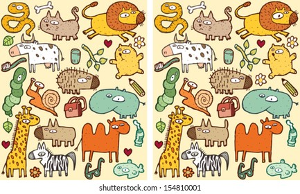 Animals Differences Visual Game. Task: find 10 differences! Solution in hidden layer (vector file only). Illustration is in eps8 vector mode!