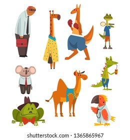 Animals of Different Professions Set, Sloth, Giraffe, Kangaroo, Frog, Parrot, Coala Bear, Camel, Crocodile Humanized Animals Cartoon Characters Vector Illustration