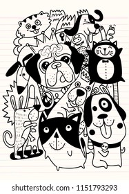 Animals. Dogs Vector background. Hand Drawn Doodles Pets. Cute Cats and Dogs ,vector illustration