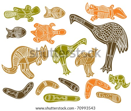 Animals Drawings Aboriginal Australian Style Stock Vector Royalty