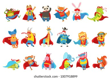 Animals Dressed As Superheroes With Capes And Masks Set