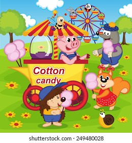 animals eat cotton candy at amusement park - vector illustration, eps