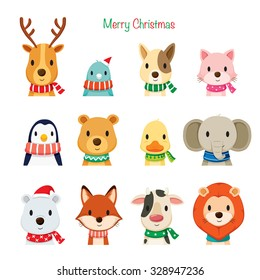 Animals Faces With Neckerchief Set, Merry Christmas, Xmas, Happy New Year, Objects, Festive, Celebrations