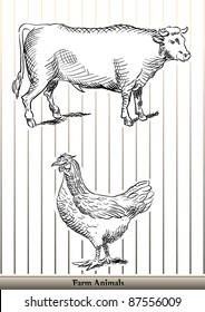 animals farm caw & chicken outline