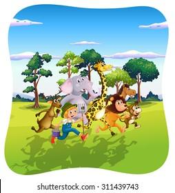 Animals and farmer running in nature  illustration