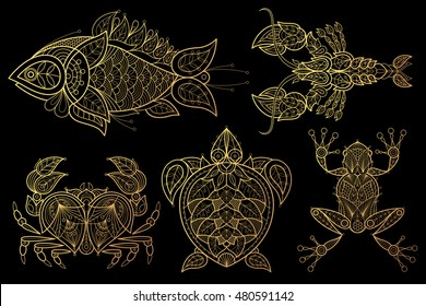 Animals. Fish, lobster, crab, sea turtle, frog. Set of vector stylized image. Gold foil print on black background.