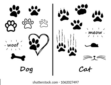 Animals footprint foot feet footsteps dog hound cat puss pussy mouse woof meow heart i love fun silhouette lucky walking paws canine mouse comic vector icon bones bone sign run speedy fast puppy funny