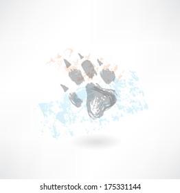Animal's footprint grunge icon