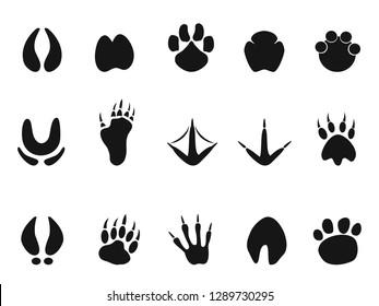 animals footprint paw icons set