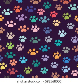 Animals footprint with seamless background.