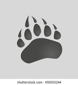 Animals footprints: bear paw. Isolated illustration vector. Bear paw silhouette