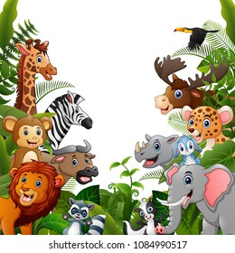 Animals forest meet together in frame