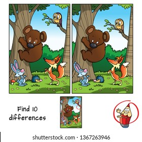 Animals in the forest. Teddy bear, fox, hare, hedgehog and owl. Find 10 differences. Educational matching game for children. Cartoon vector illustration