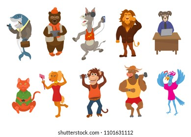 Animals gadget vector animalistic cartoon character businessman bear cat or dog holding phone or camera for selfie illustration set of lion or monkey with laptop or isolated on white background
