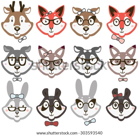 a70d6c62144 Animals Glasses Stock Vector (Royalty Free) 303593540 - Shutterstock