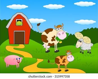 animals graze on the green lawn near the farm ,vector illustration