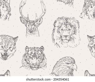 Animals heads drawings seamless pattern