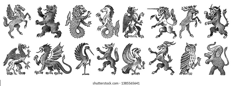 Animals for Heraldry in vintage style. Engraved coat of arms with birds, mythical creatures, fish, dragon, unicorn, lion. Medieval Emblems and the logo of the fantasy kingdom.