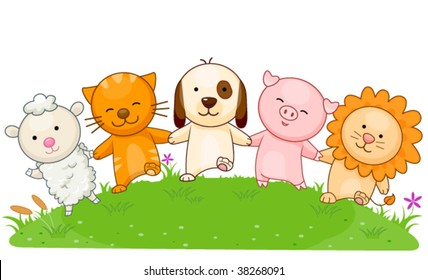Animals holding each others hands - Vector