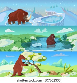 Animals ice age banners set with woolly rhino giant beaver and sloth in wildlife isolated vector illustration