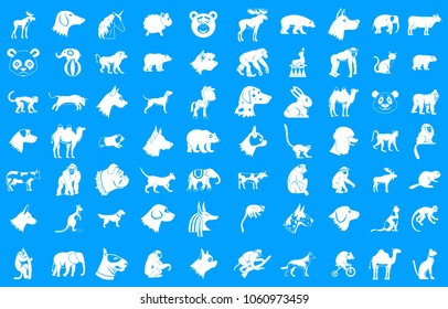 Animals icon set. Simple set of animals vector icons for web design isolated on blue background