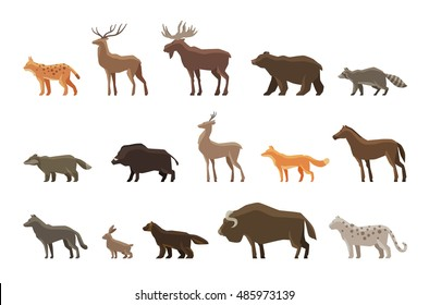 Animals icon set. Vector symbols such as lynx, deer, elk, bear, raccoon, badger, wild boar, roe deer, fox, horse, wolf, hare, musk ox, snow leopard, wolverine