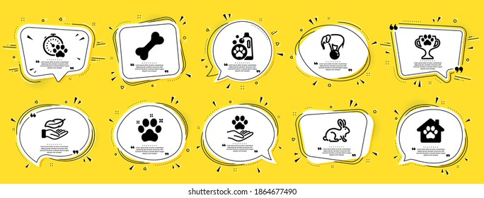Animals icons set. Speech bubble offer banners. Yellow coupon badge. Included icon as Elephant on ball, Pet friendly, Dog competition signs. Pet shelter, Animal tested, Pets care symbols. Vector