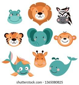 Animals illustration set. Vector