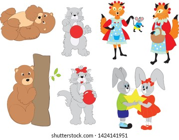 Animals illustrations of bear playing, cat with ball, fox illustrated and two rabits
