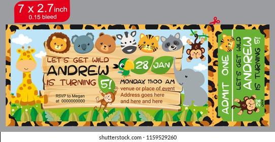 Animals in the jungle. Ticket. Ticket invitation birthday. Jungle Party. ilustration