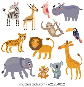 Animals of the jungle. Vector set of characters.