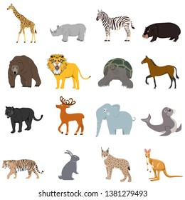 Animals, a large set of animals. Cartoon illustration of animals.