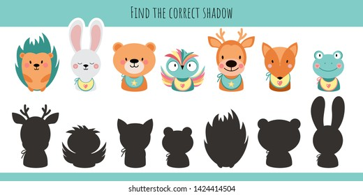 Animals. Learning children game. Find the correct shadow.  Hedgehog, rabbit, bear, bunny, owl, deer, frog, fox. Cartoon cute  illustration on a white background.  - Vector