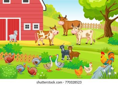 Animals life on the farm. Horizontal illustration for children books.