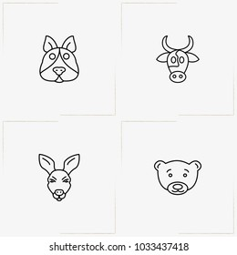 Animals line icon set with dog, bear and bull