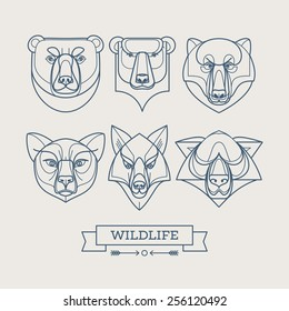 Animals linear art icons. Vector illustration EPS10
