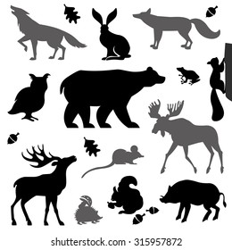 Animals living in european forest. Vector icon set of silhouette.