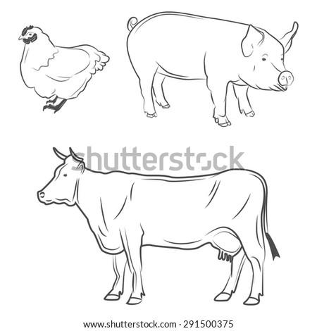 Animals Logo Butcher Shop Beef Pork Stock Vector Royalty Free