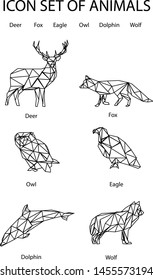 Animals in low poly style on white background. Modern vector illustration. flat vector illustration. Cute animal pattern. White background. Isolated vector design. Deer, fox, wolf, owl, Eagle, dolphin