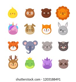Animals manga smiles. Cute kawaii baby animal emoticons. Unicorn dragon, elephant tiger, lion and owl. Funny avatars vector isolated set. Illustration of animal dog and chick, owl and bear