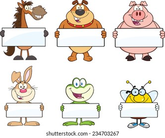 Animals Mascot Cartoon Character Holding A Blank Sign . Vector Collection Set