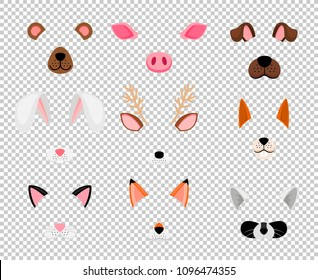 Animals masks. Face masking for masquerade, rabbit and bear, dog, and fox cute halloween head mask set isolated on transparent background, vector illustration