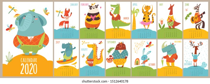Animals modern style cartoon vector 2020 calendar with funny wild animals characters doing different activities. Letter size format. Kids room decoration.