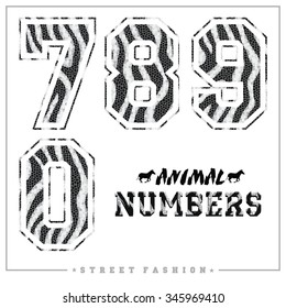 Animals mosaic numbers for t-shirts, posters, card and other uses. Trendy style.