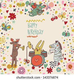 Animals - musicians on birthday party. Zebra, deer, dog, rabbit  are playing on classical musical instruments. Party invitation. Funny vector background with place for text.