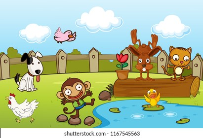 Animals in the nature illustration