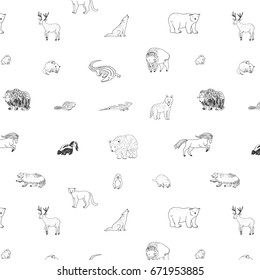 animals of north america doodle hand drawn vector pattern